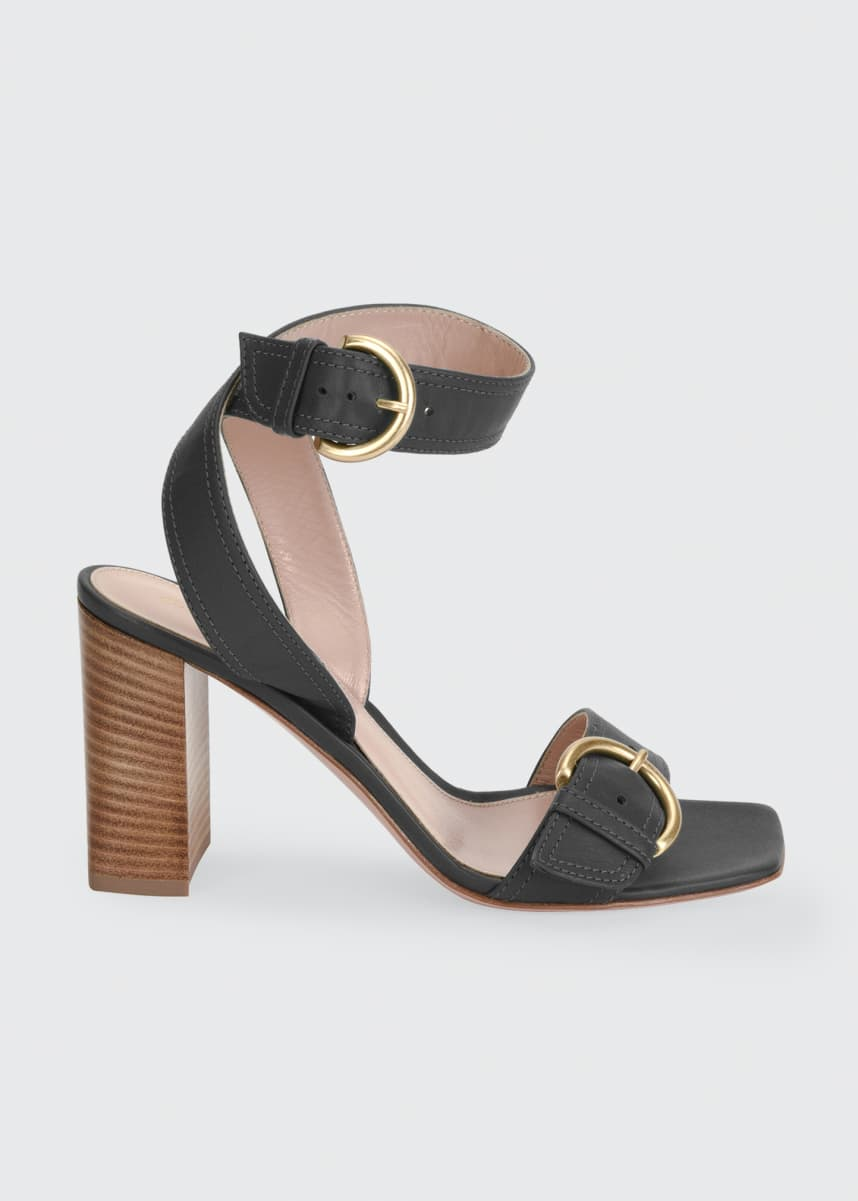 Gianvito Rossi Leather Buckle Ankle-Strap Sandals