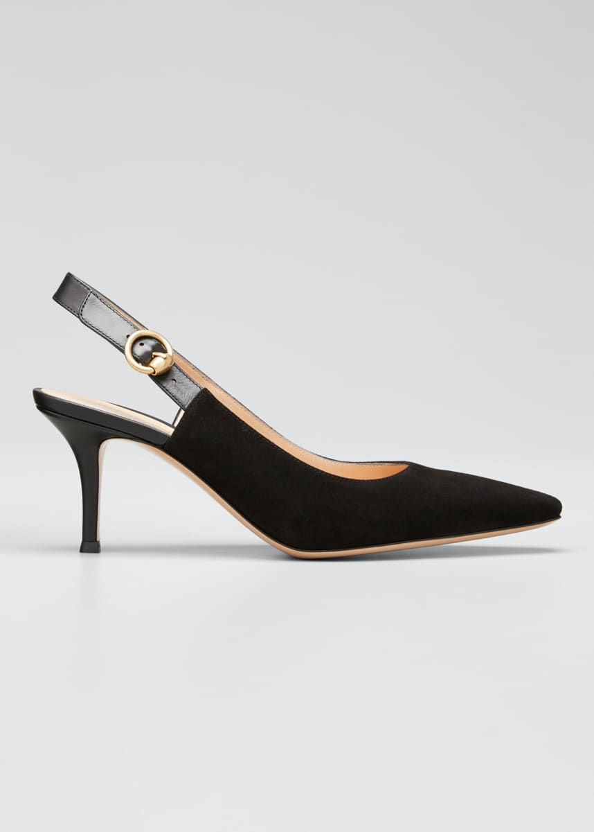 Gianvito Rossi Suede Square-Toe Slingback Pumps