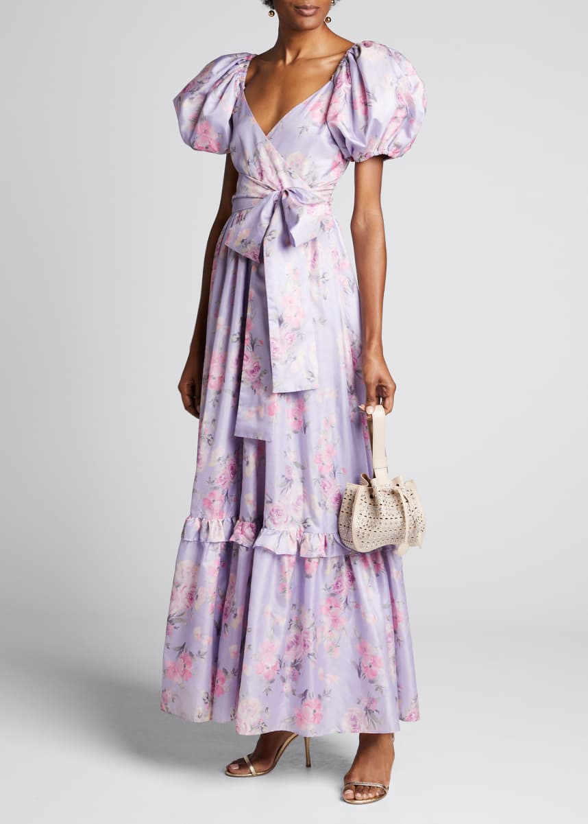 LoveShackFancy Ida Floral Puff-Sleeve Long Dress