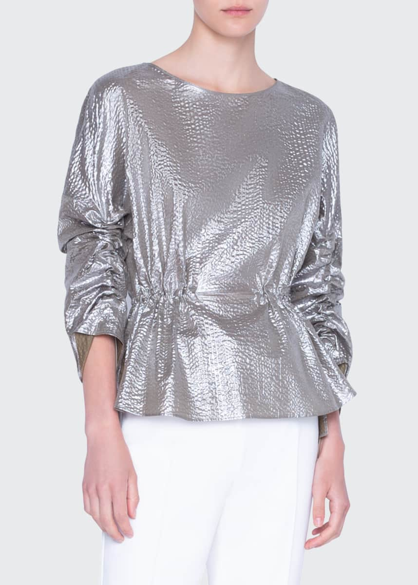 Akris punto Metallic Cotton Bracelet-Sleeve Shirt