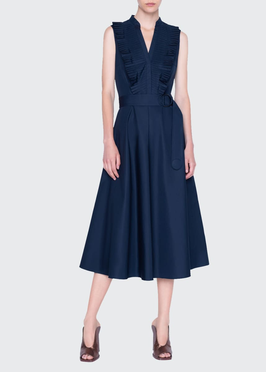 Akris punto Plisse Cotton Midi Belted Dress