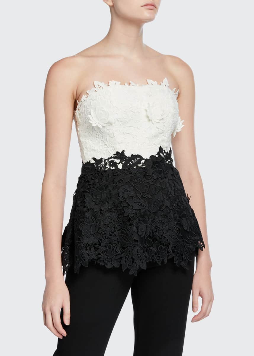 Lela Rose Two-Tone Chantilly Lace Strapless Top