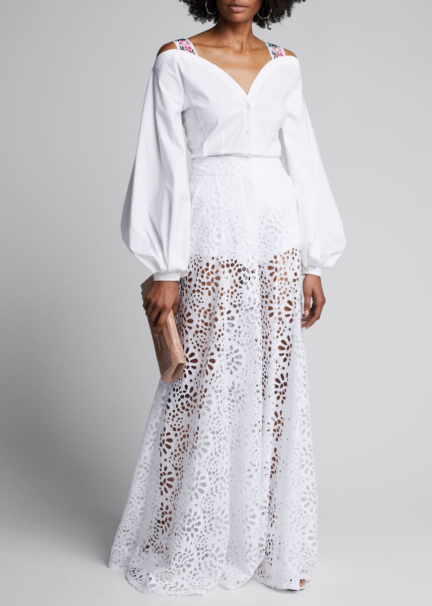 Carolina Herrera Lace Wide-Leg Pants