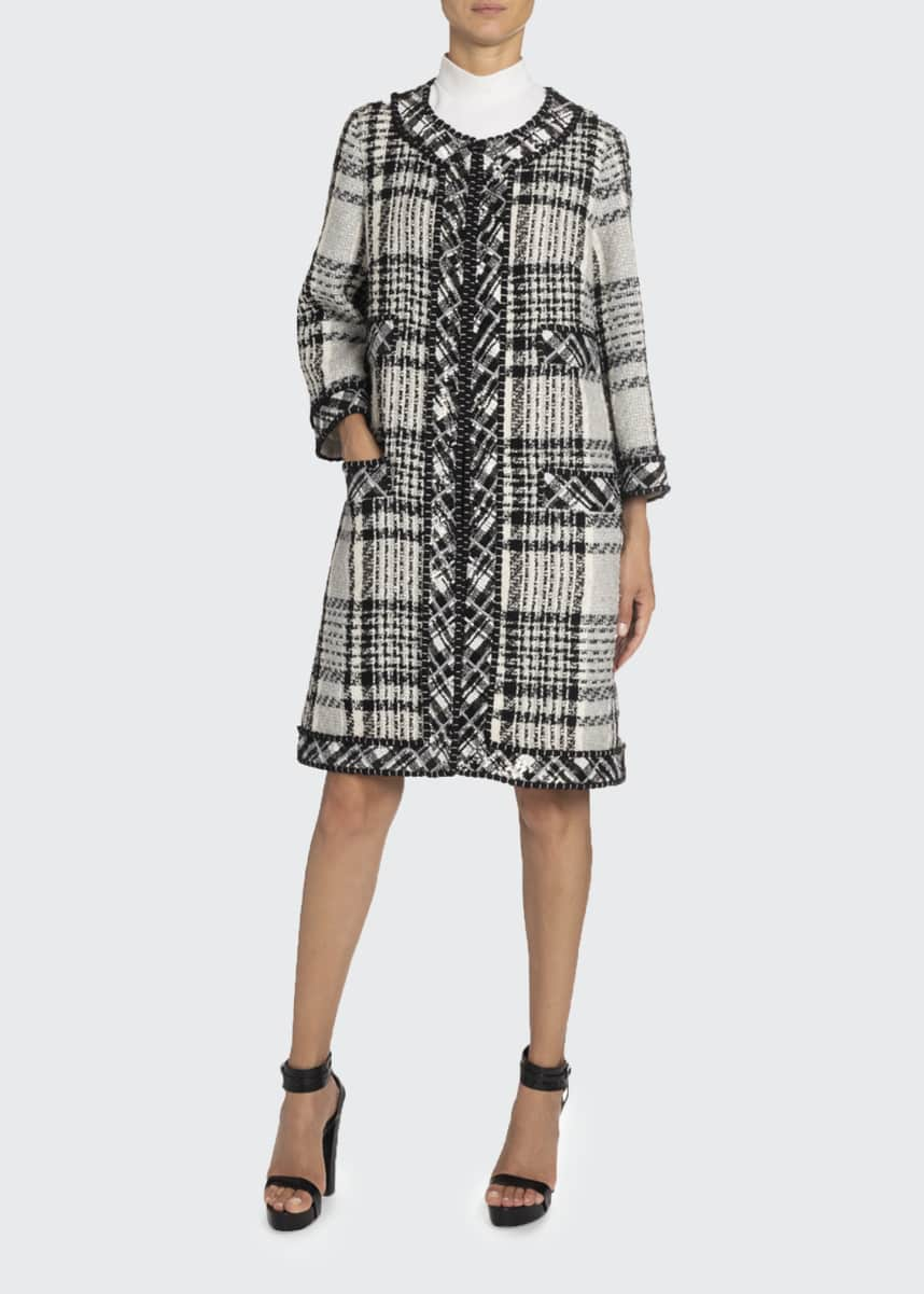 Andrew Gn Sequin-Trim Long Plaid Woven Coat