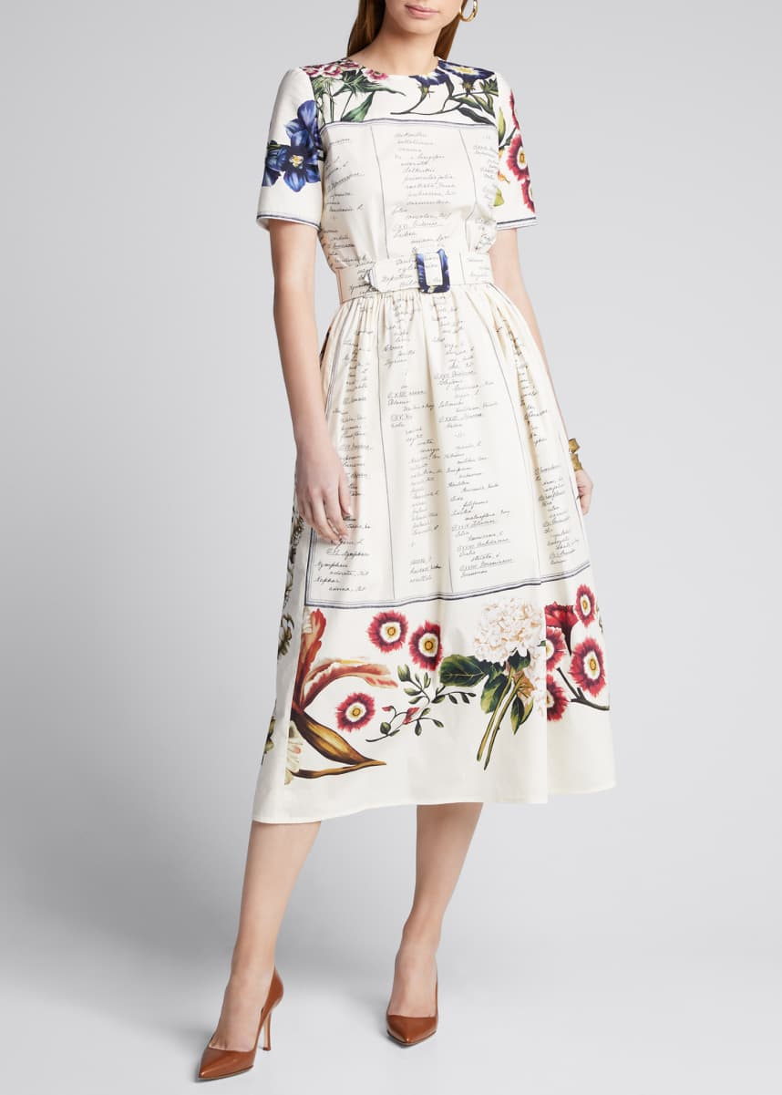 Oscar de la Renta Floral Script Short-Sleeve Belted Cotton Poplin Dress