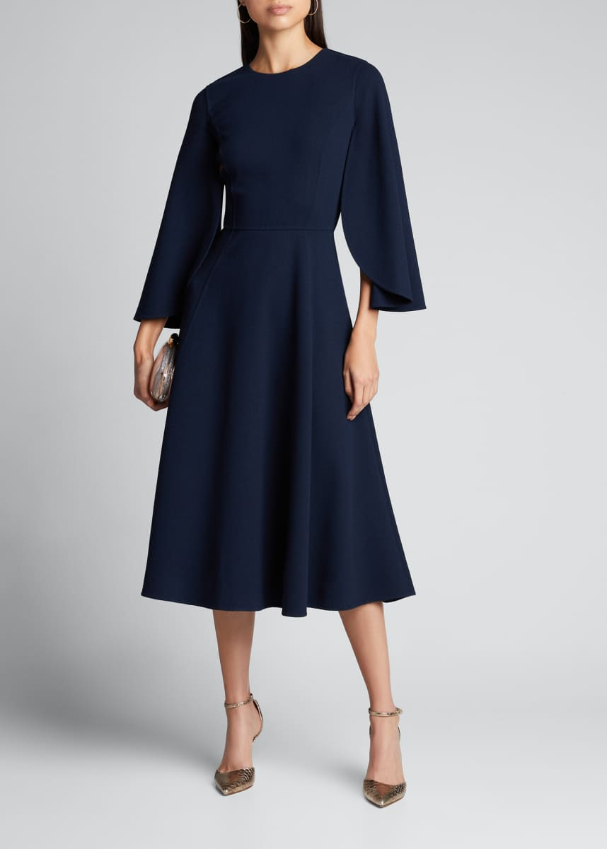 Oscar de la Renta Cape-Sleeve Wool-Crepe Midi Dress