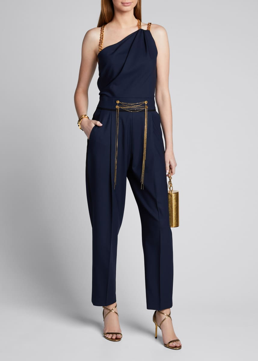 Oscar de la Renta Asymmetrical Chain Strap Stretch Wool Jumpsuit
