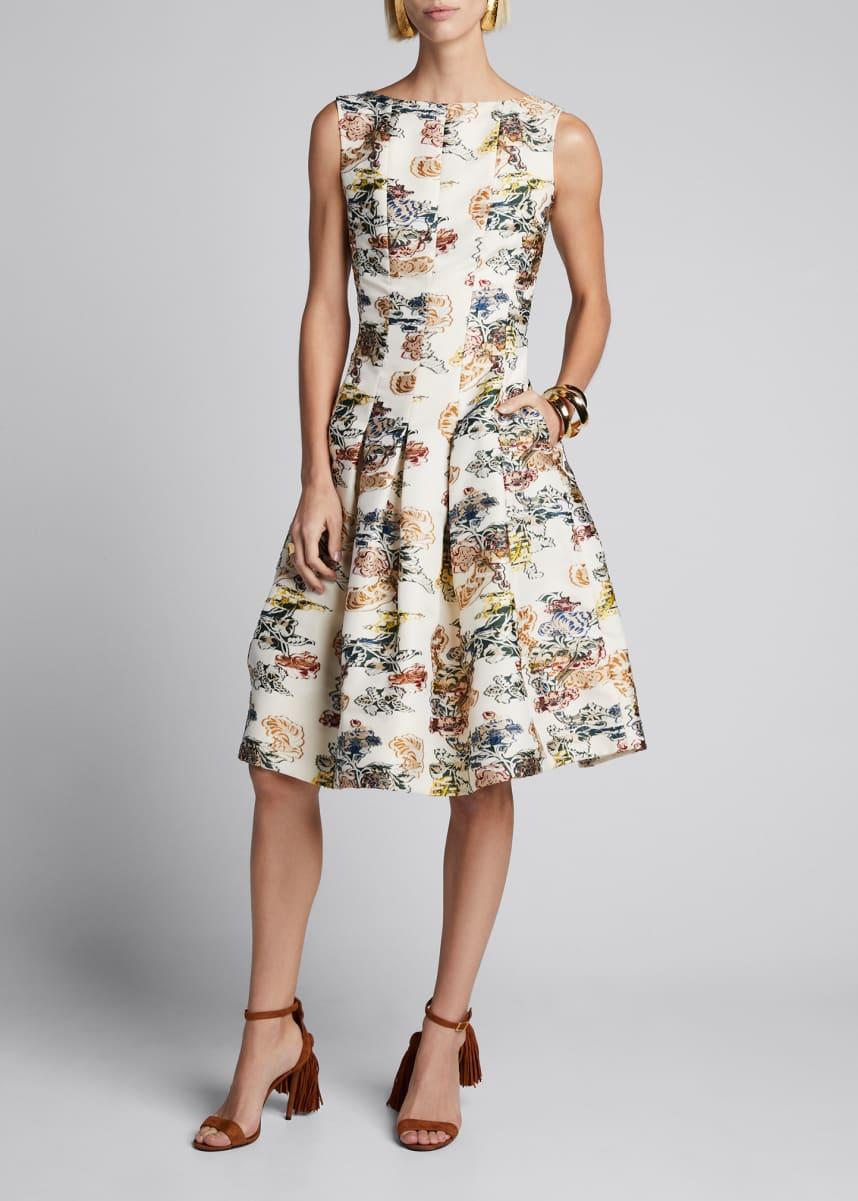 Oscar de la Renta Floral Sleeveless Fit-&-Flare Seamed Dress