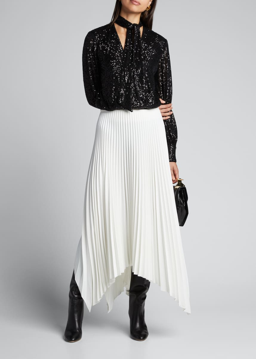 Jonathan Simkhai Sequined Tie-Neck Long-Sleeve Bodysuit