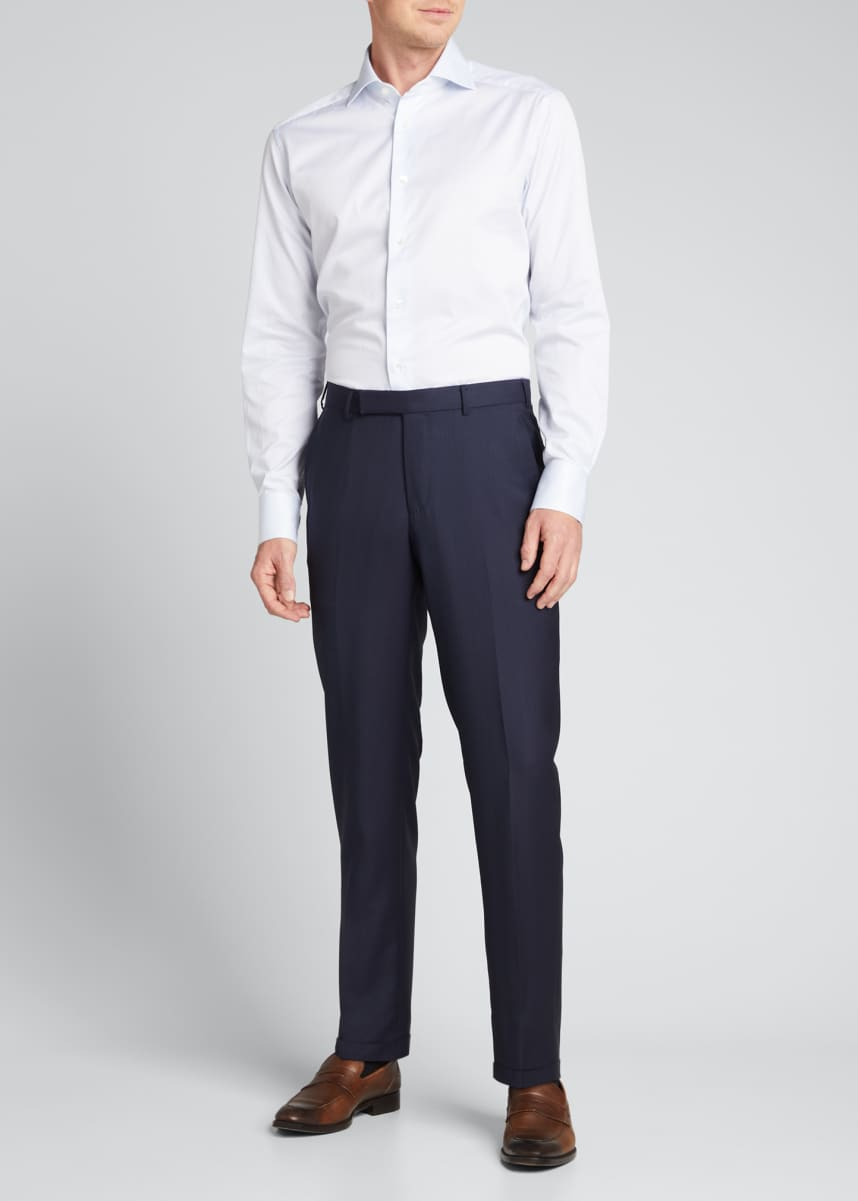 Ermenegildo Zegna Men's Solid Wool-Silk Trousers
