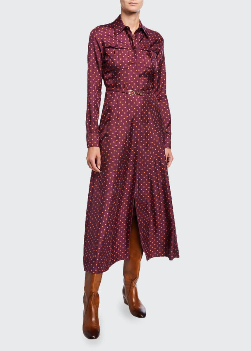 Gabriela Hearst Polka Dot Silk Twill Shirtdress
