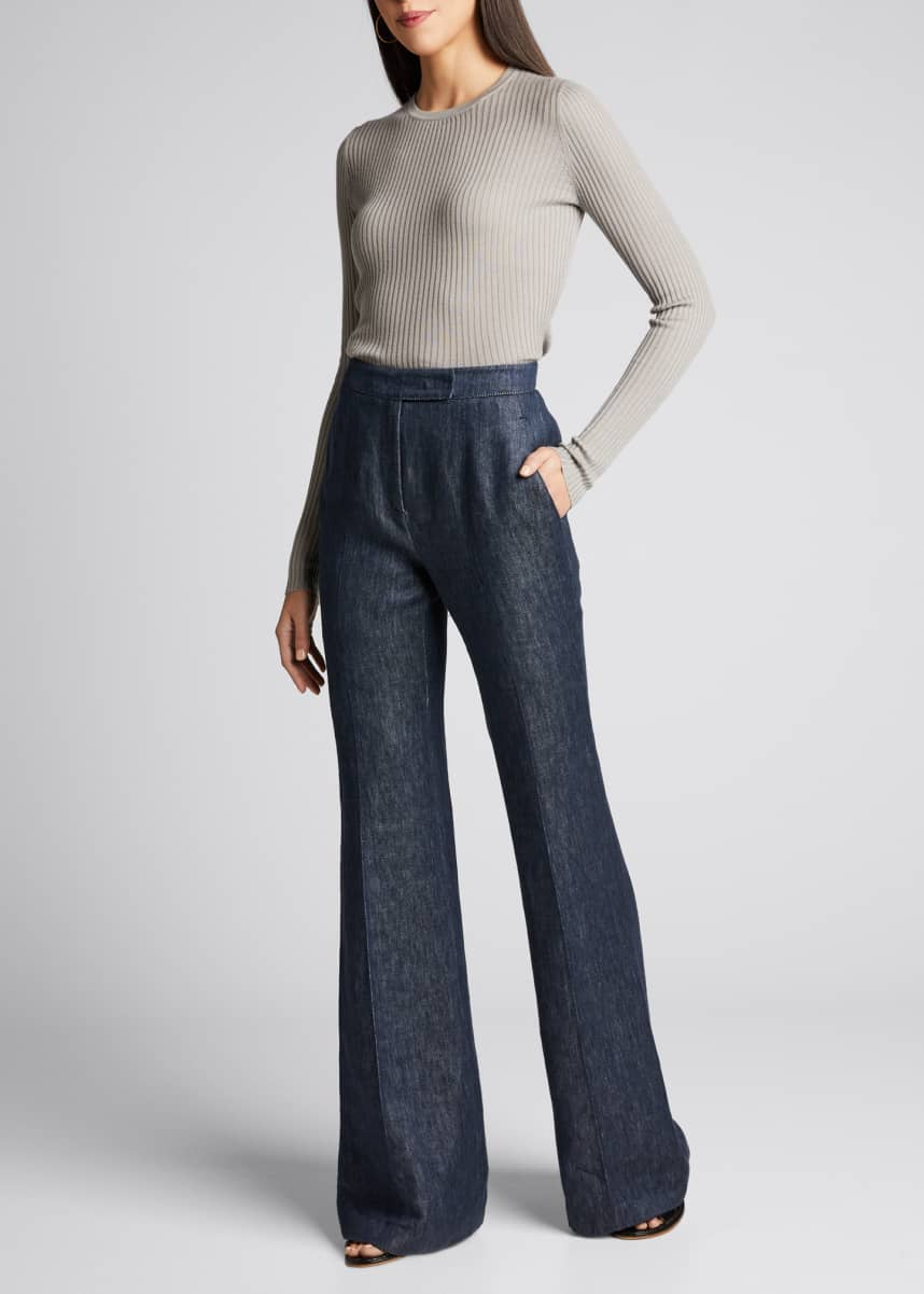 Gabriela Hearst Leda Linen-Denim Wide-Leg Pants
