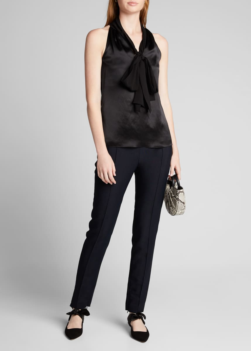 Prabal Gurung Satin Sleeveless Tie-Neck Shirt