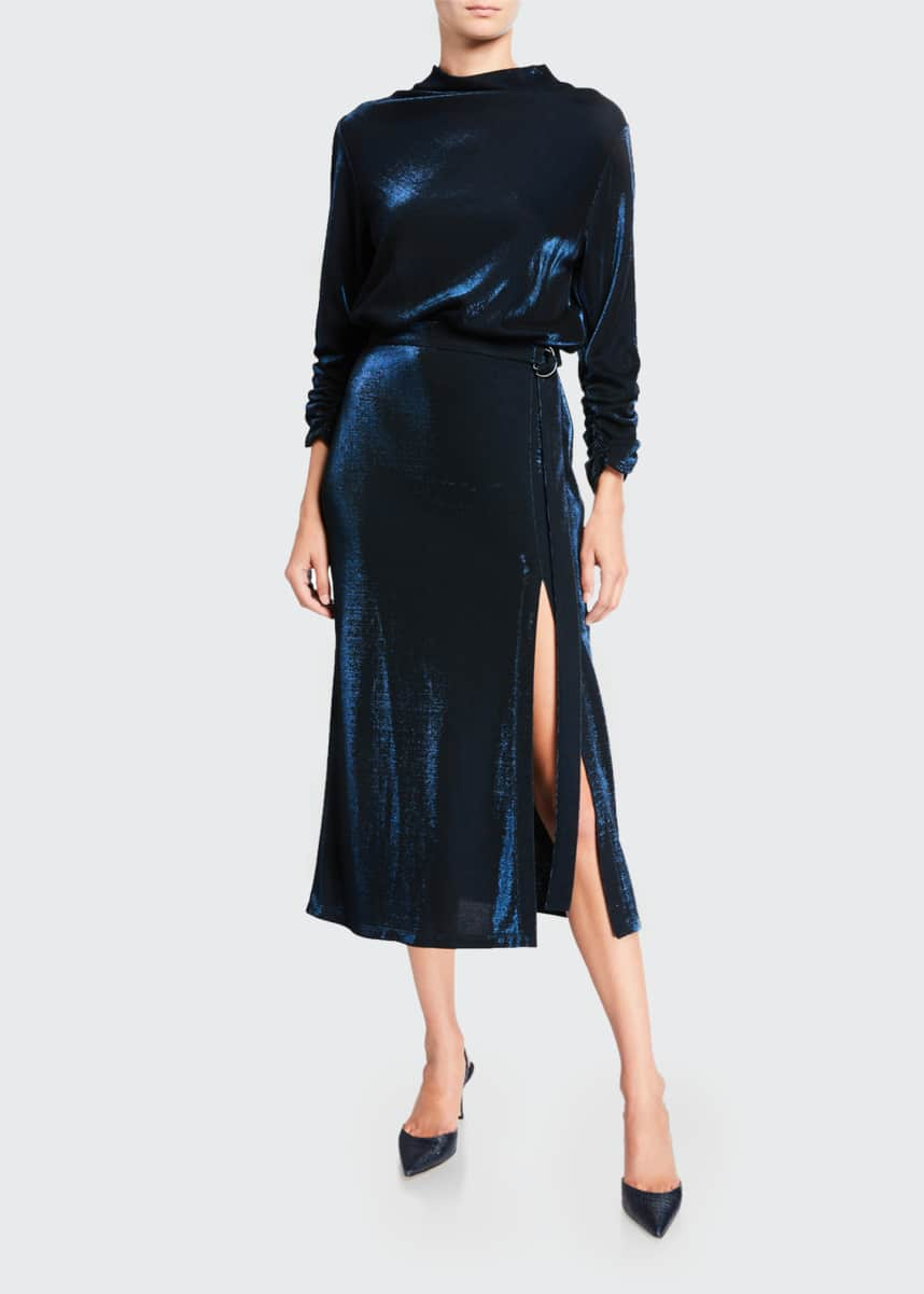 LAPOINTE Metallic Jersey Mock-Neck Dress