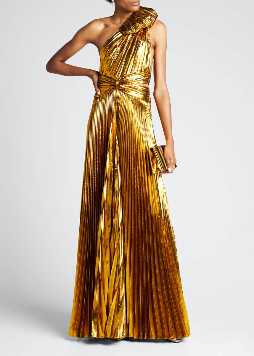 Tre by Natalie Ratabesi One-Shoulder Pleated Lame Gown