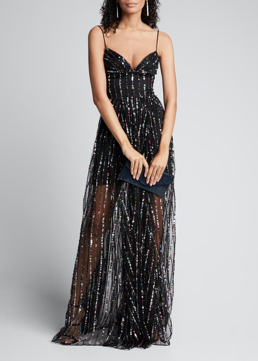 Rasario Multi-Sequined Chiffon Strapless Corset Gown