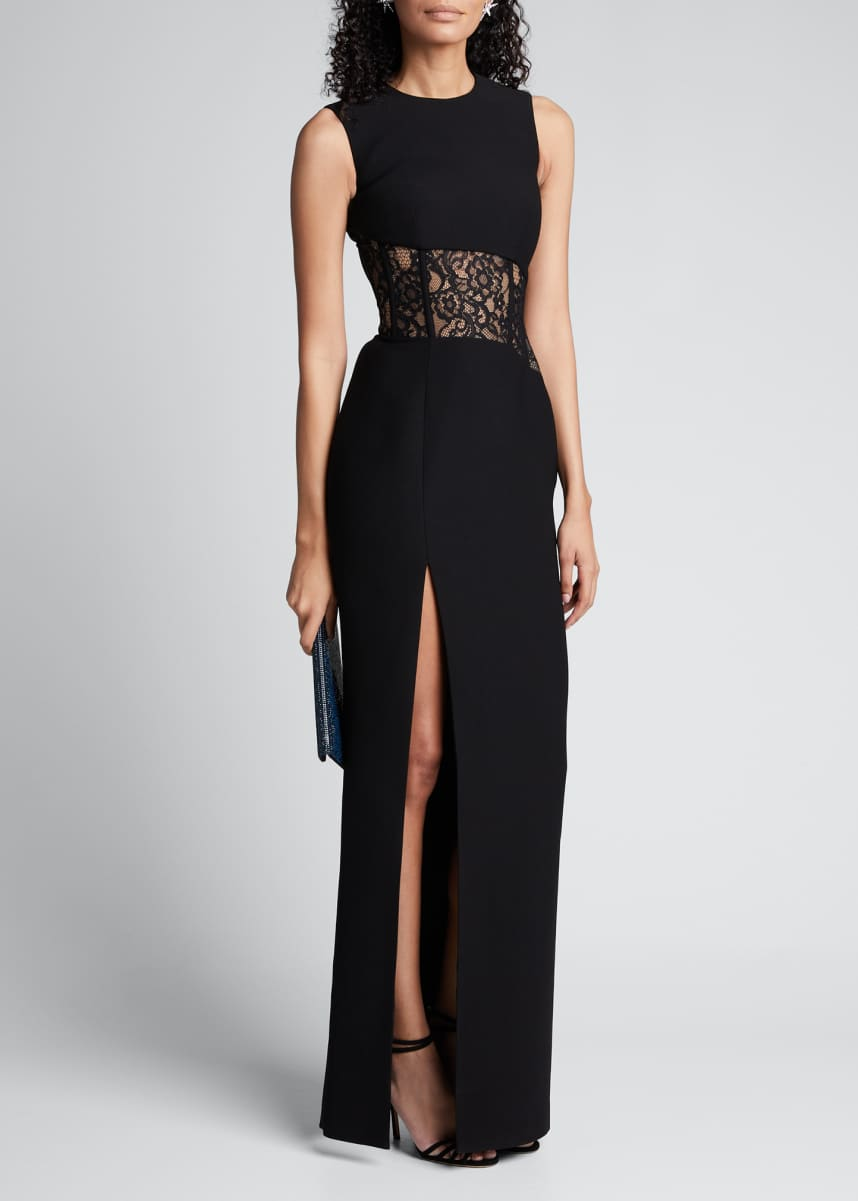 Rasario Sleeveless Lace-Inset Side Slit Gown