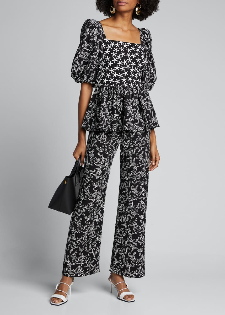 Stine Goya Marc Snake-Print Wide-Leg Pants