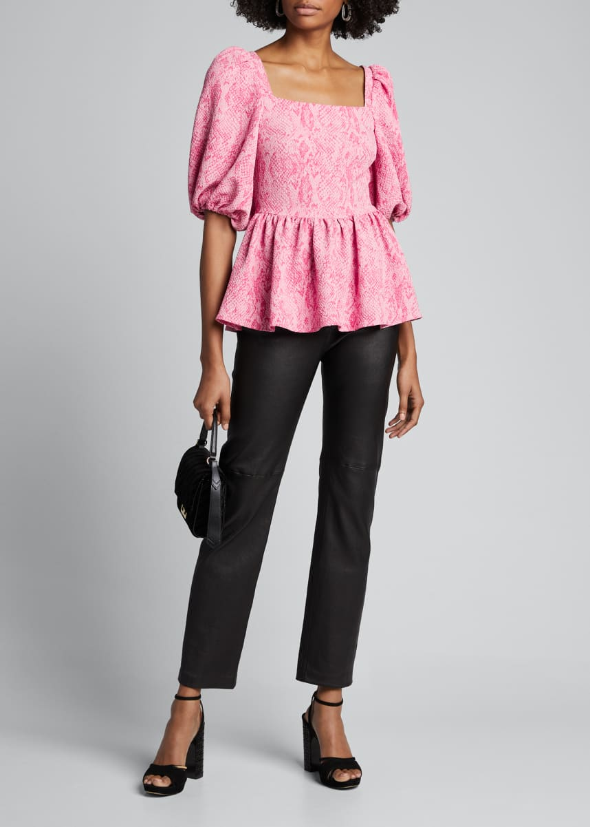 Stine Goya Irene Square-Neck Peplum Top, Pink