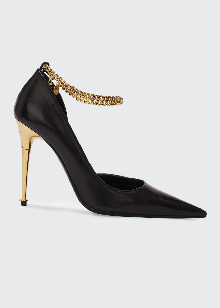 TOM FORD Open-Side Pumps with Chain Strap