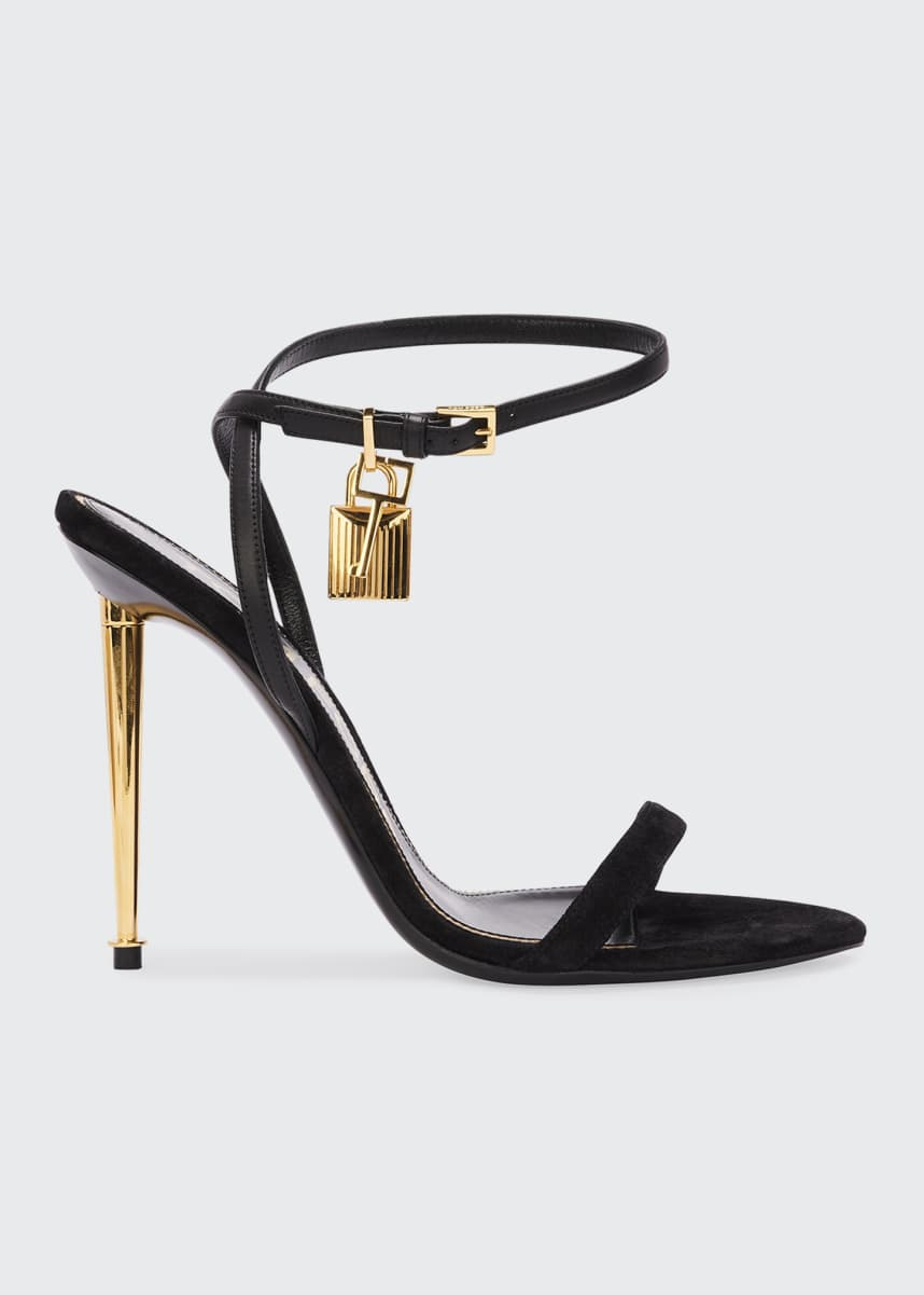 TOM FORD Strappy Suede Lock Sandals
