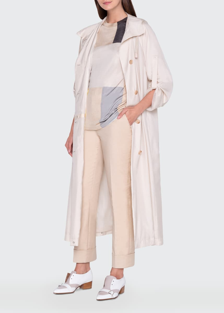 Akris Silk Snap-Hem Hooded Trench Coat