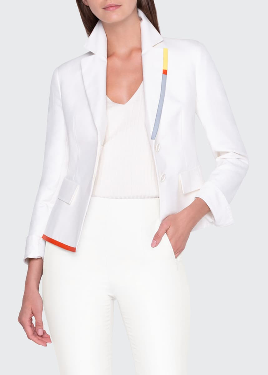 Akris Contrast Trim Asymmetric Shirt Jacket