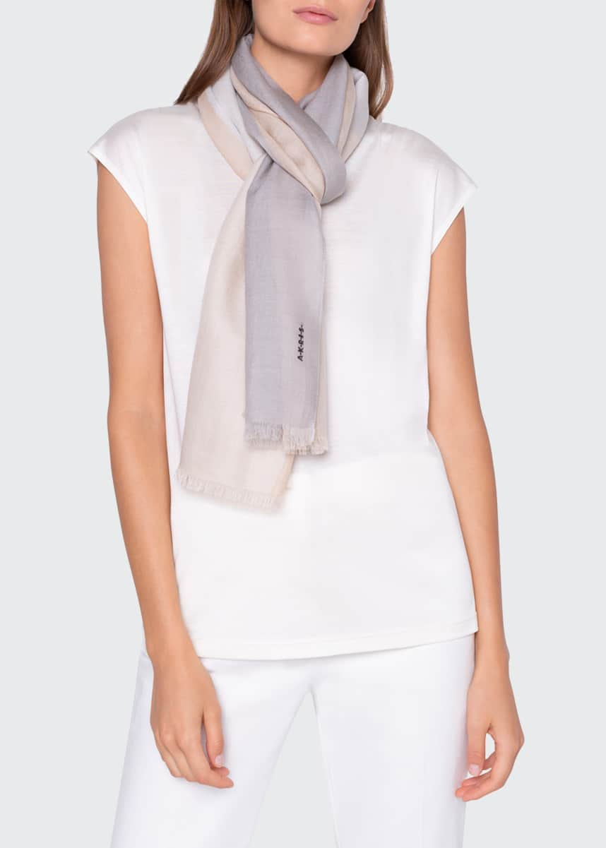 Akris Colorblocked Cashmere Silk Scarf