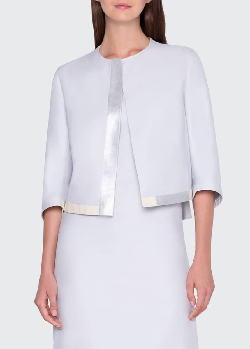 Akris Metallic Leather-Trim Cropped Jacket