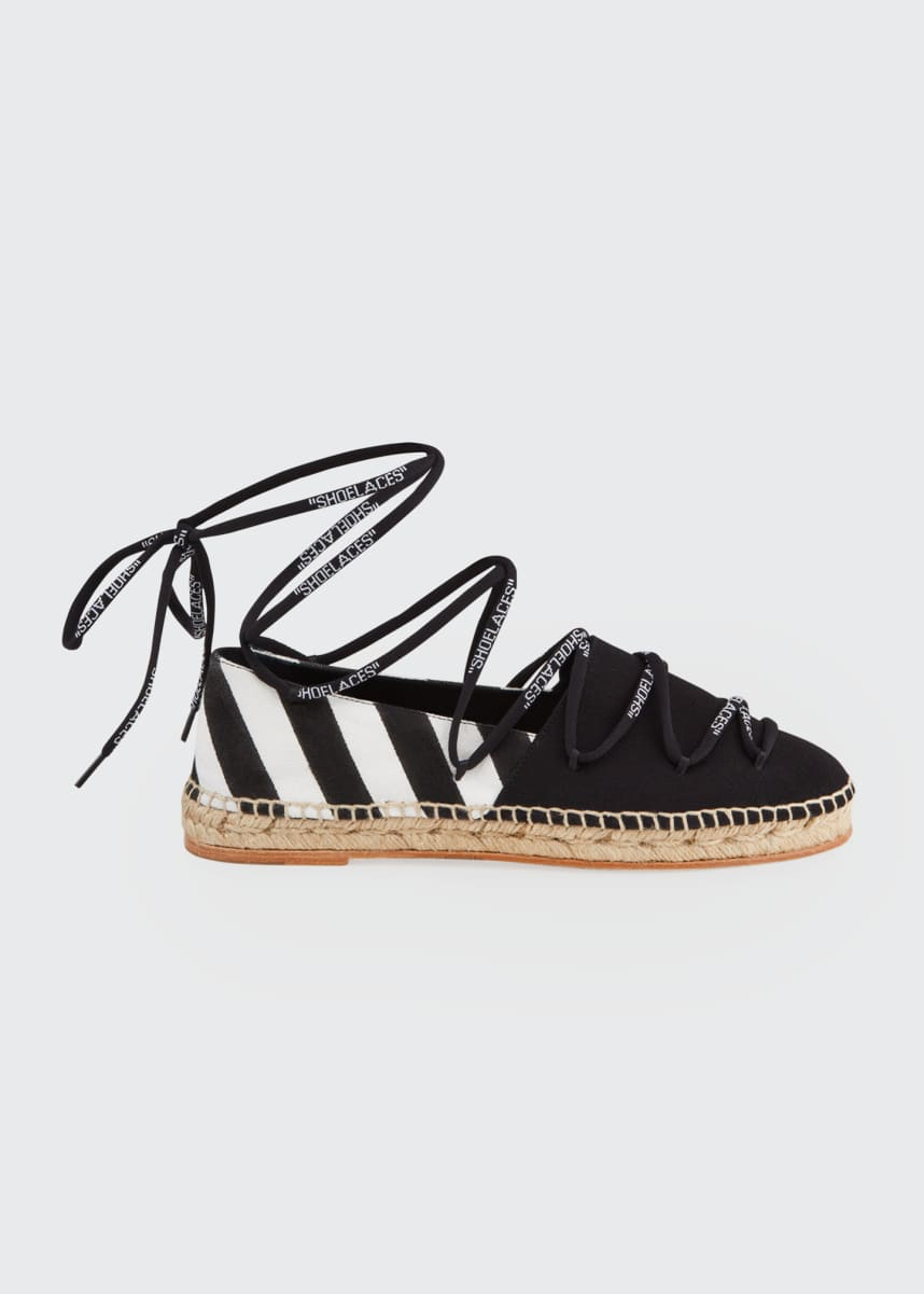 Off-White Shoelaces Diagonal Stripe Flat Espadrilles