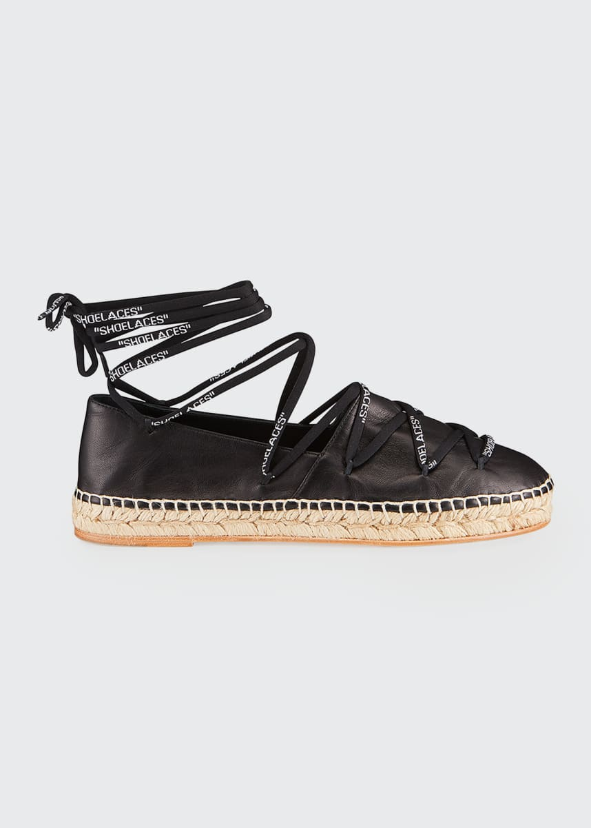 Off-White Shoelaces Leather Flat Espadrilles