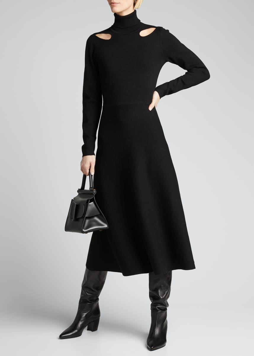 Jason Wu Turtleneck Long-Sleeve Cutout Dress
