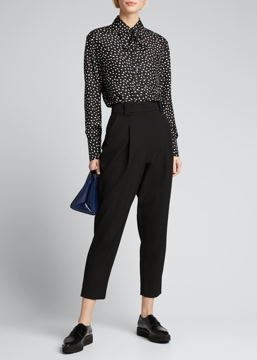 Jason Wu Dot Print Tie-Neck Button-Down Blouse