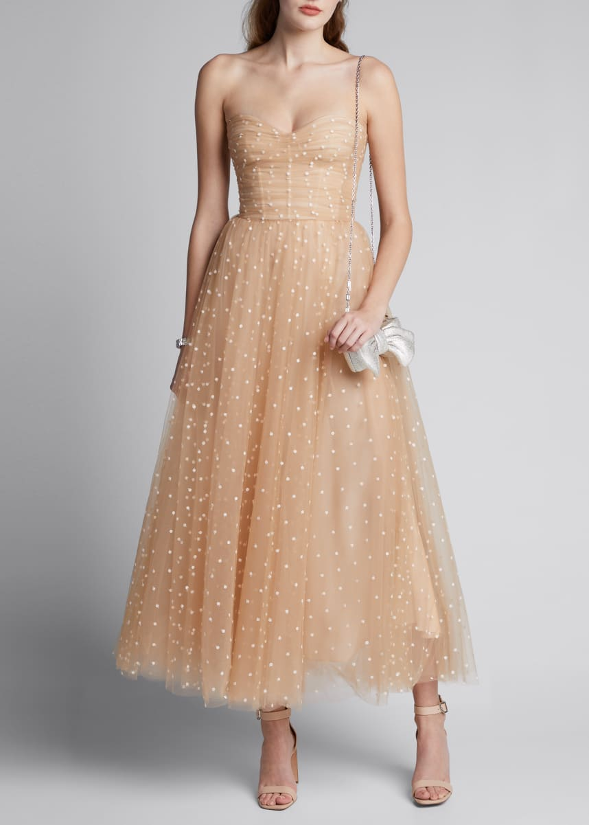 Monique Lhuillier Polka Dot Tulle Strapless Tea-Length Dress