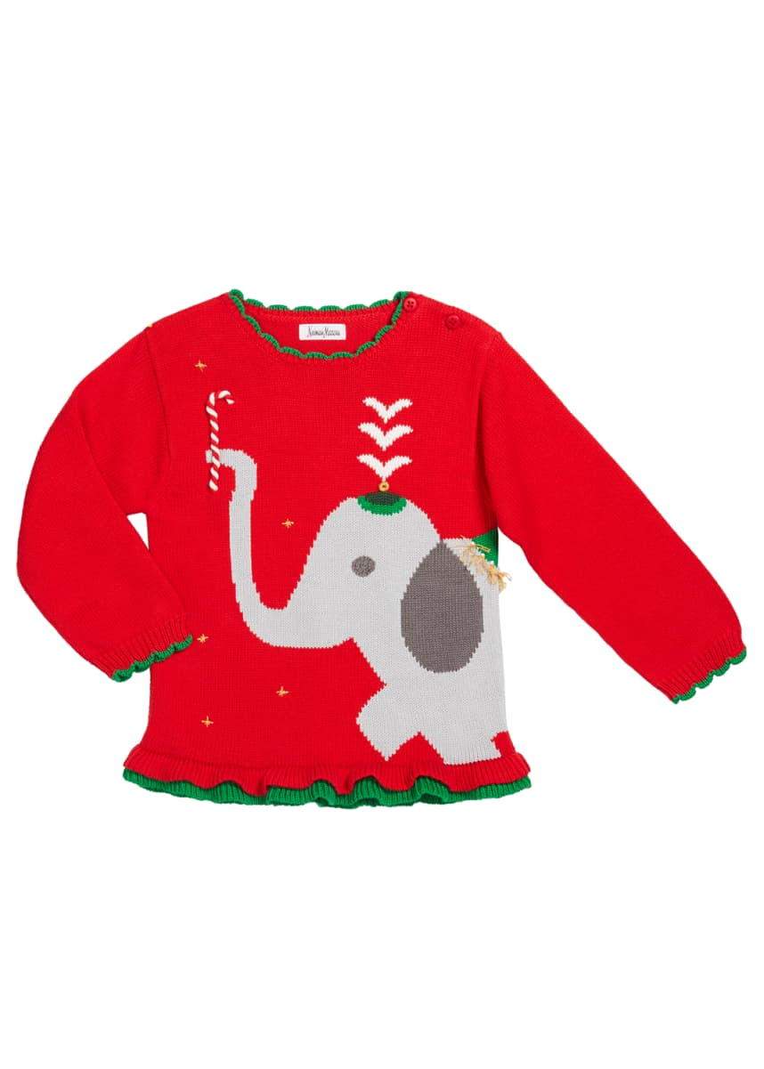 Zubels Girl's Elephant Intarsia Sweater, Size 12M-7
