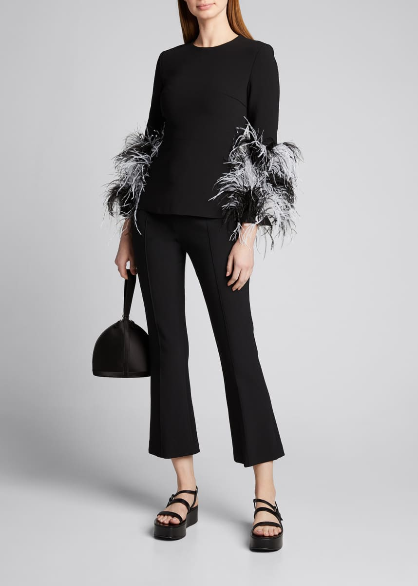 Huishan Zhang Feather-Cuffed Blouse