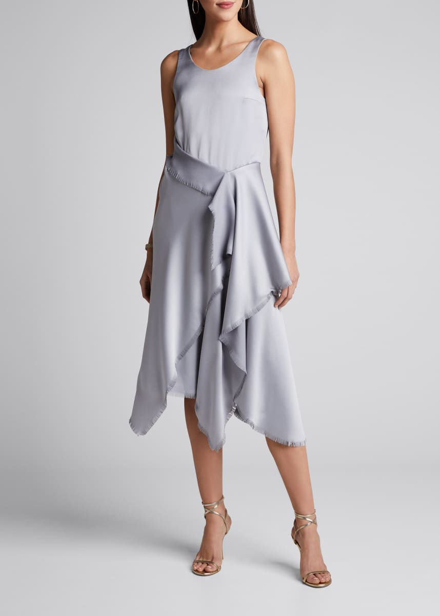 Cedric Charlier Satin Asymmetric Dress