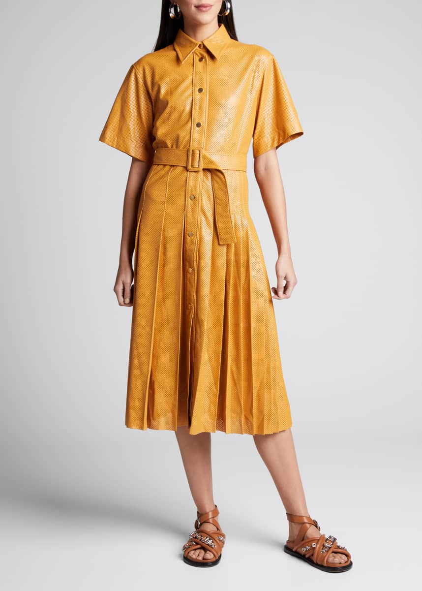 Cedric Charlier Perforated Faux-Leather Belted Shirtdress