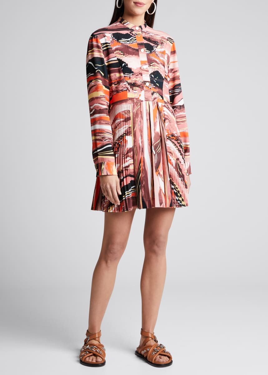 Cedric Charlier Abstract-Print Pleated Shirtdress