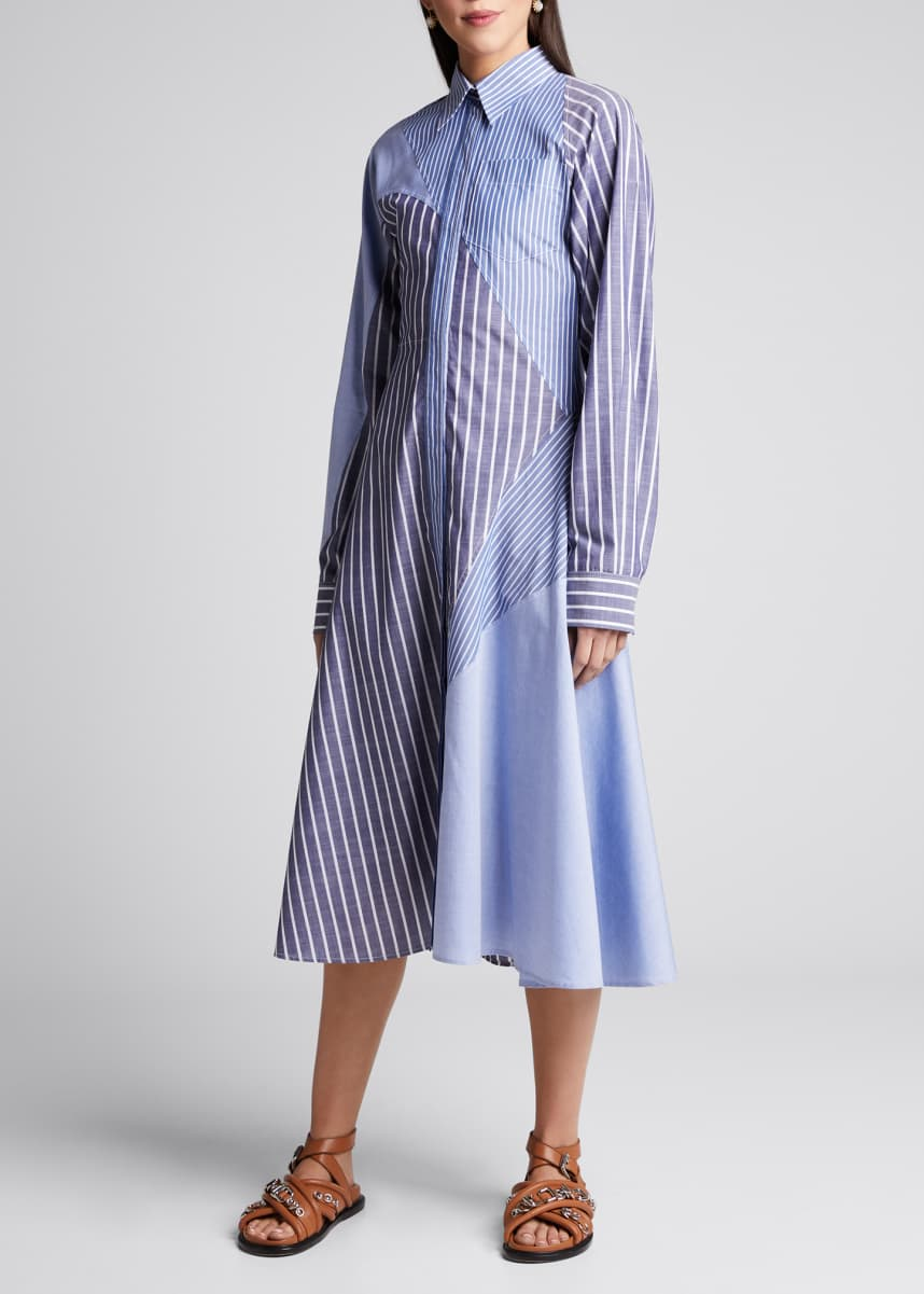 Cedric Charlier Striped Patchwork Shirtdress