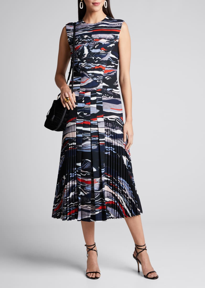 Cedric Charlier Wave-Print Pleated Crepe Dress