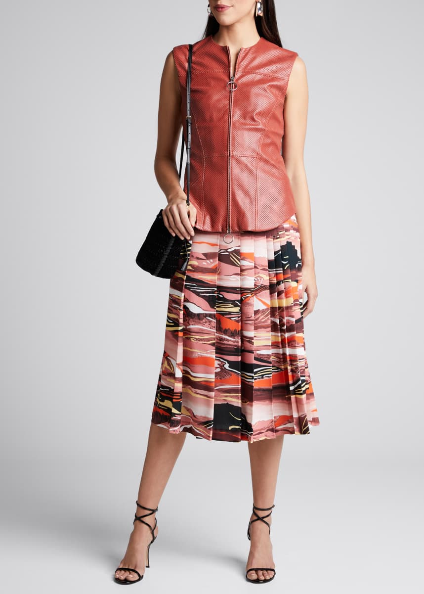 Cedric Charlier Abstract-Print Pleated Midi Skirt