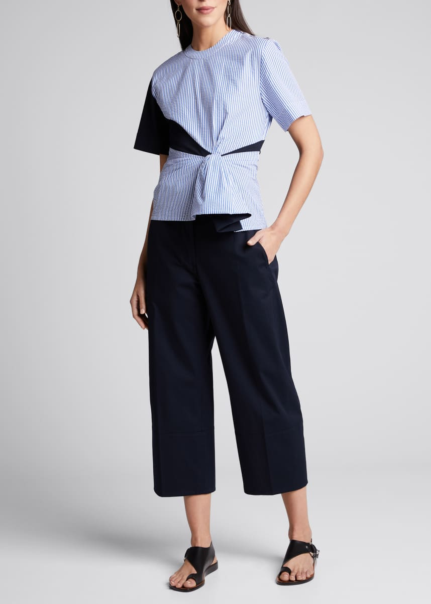 Cedric Charlier Cotton Gabardine Pleated Trousers
