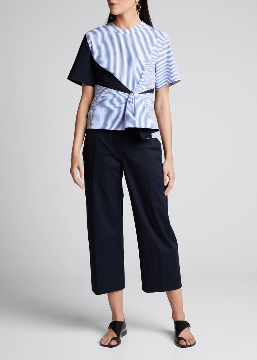 Cedric Charlier Patchwork Striped Seersucker Blouse