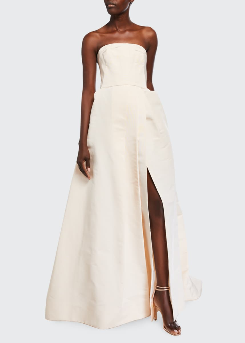 Monique Lhuillier Strapless Silk A-Line Gown with Side Slit