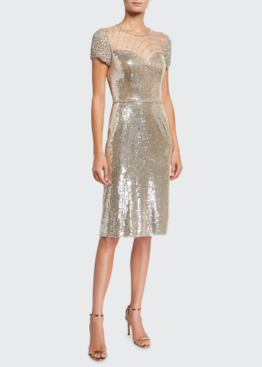 Jenny Packham Sequin Cap-Sleeve Cocktail Dress