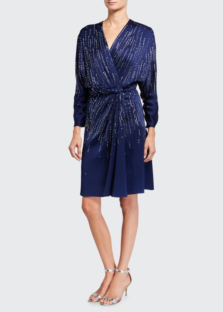 Jenny Packham V-Neck Long-Sleeve A-Line Dress with Sequins