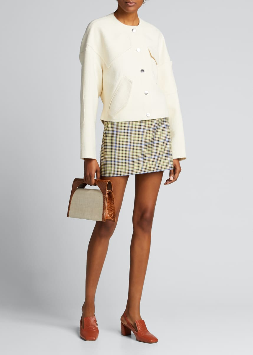 Tibi Basketweave Patch-Detail Short Jacket