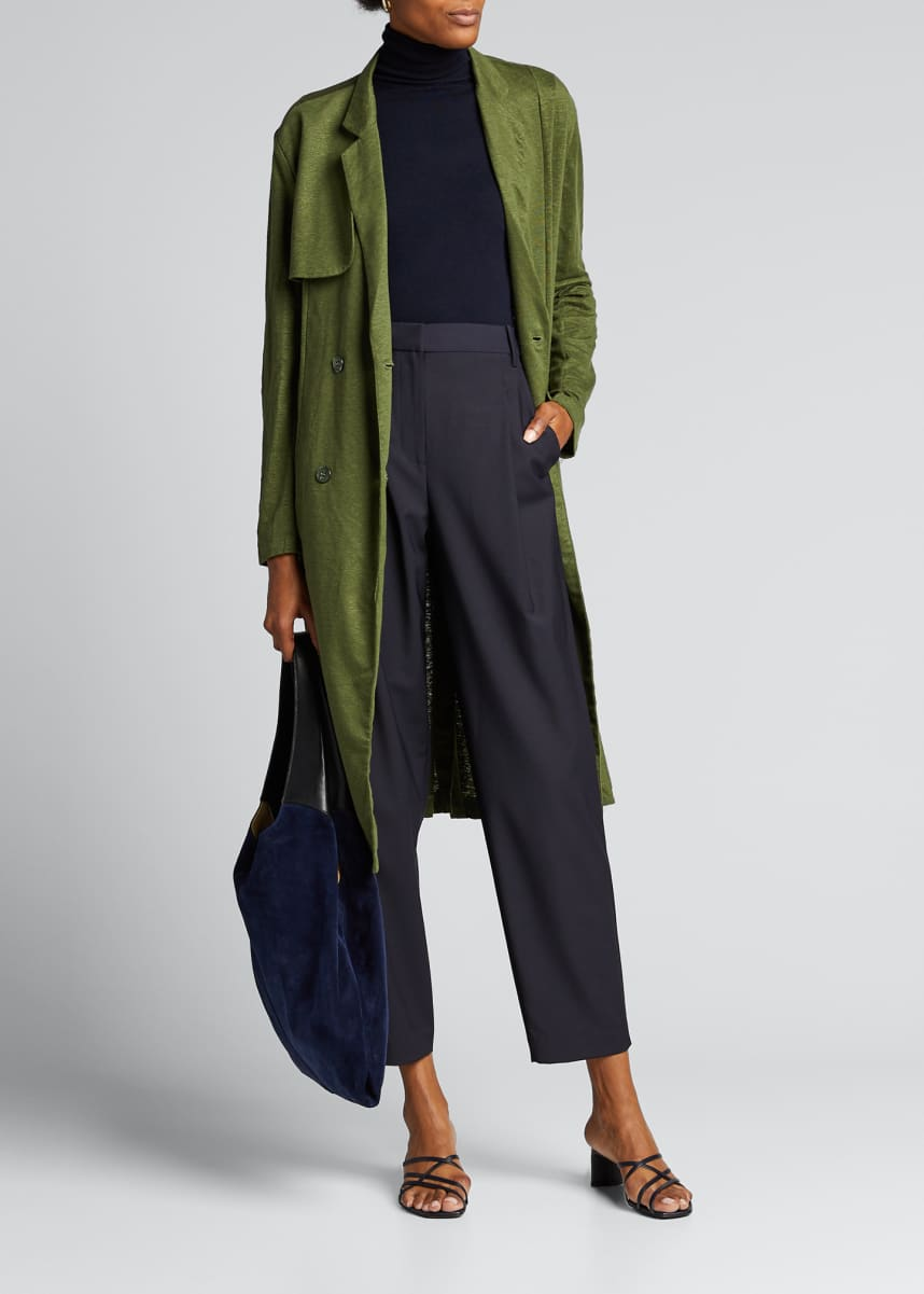 Tibi Tropical Wool Slouchy Sculpted Pleat Pants