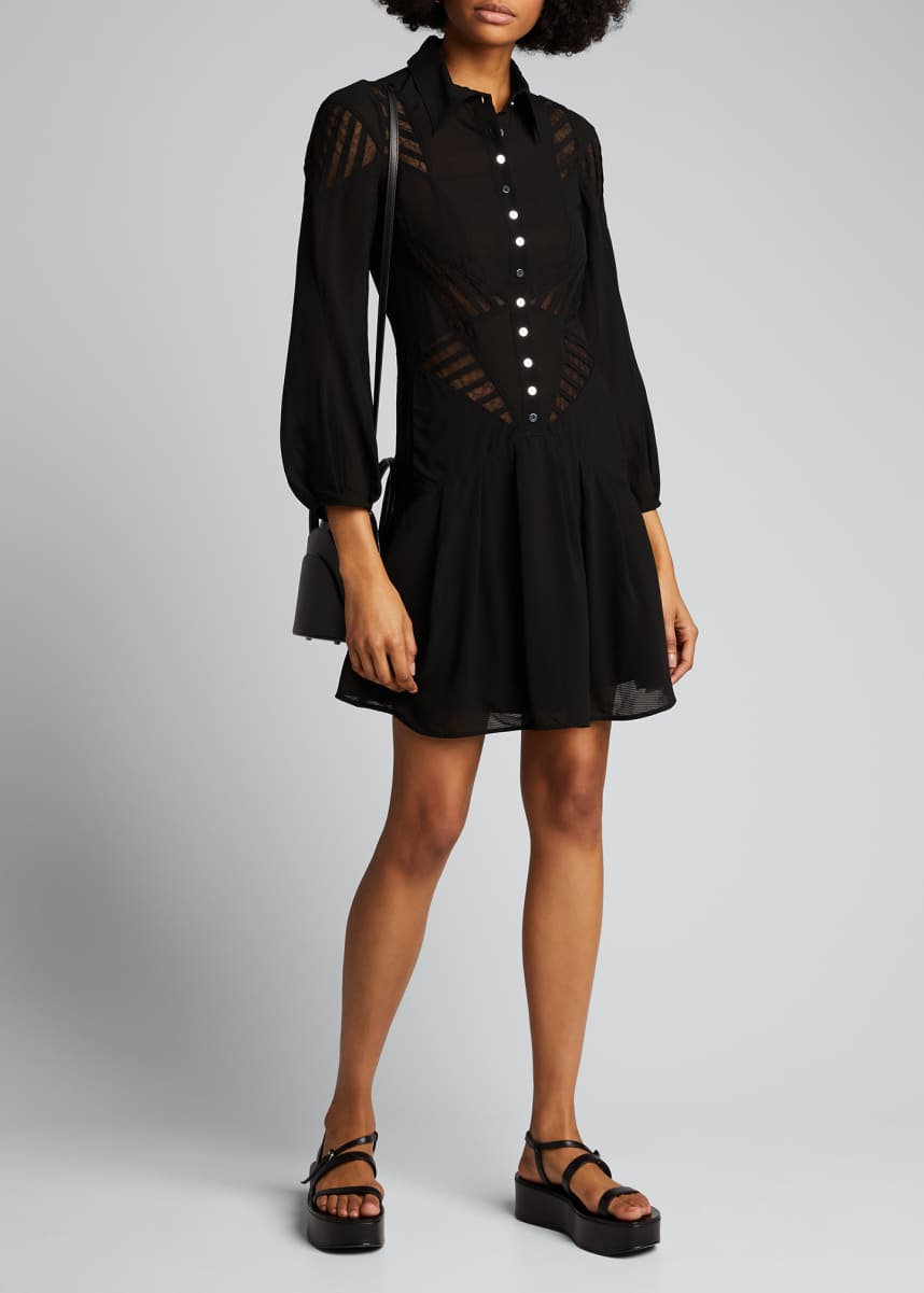 Olivier Theyskens Jersey Lace-Trim Mini Shirtdress